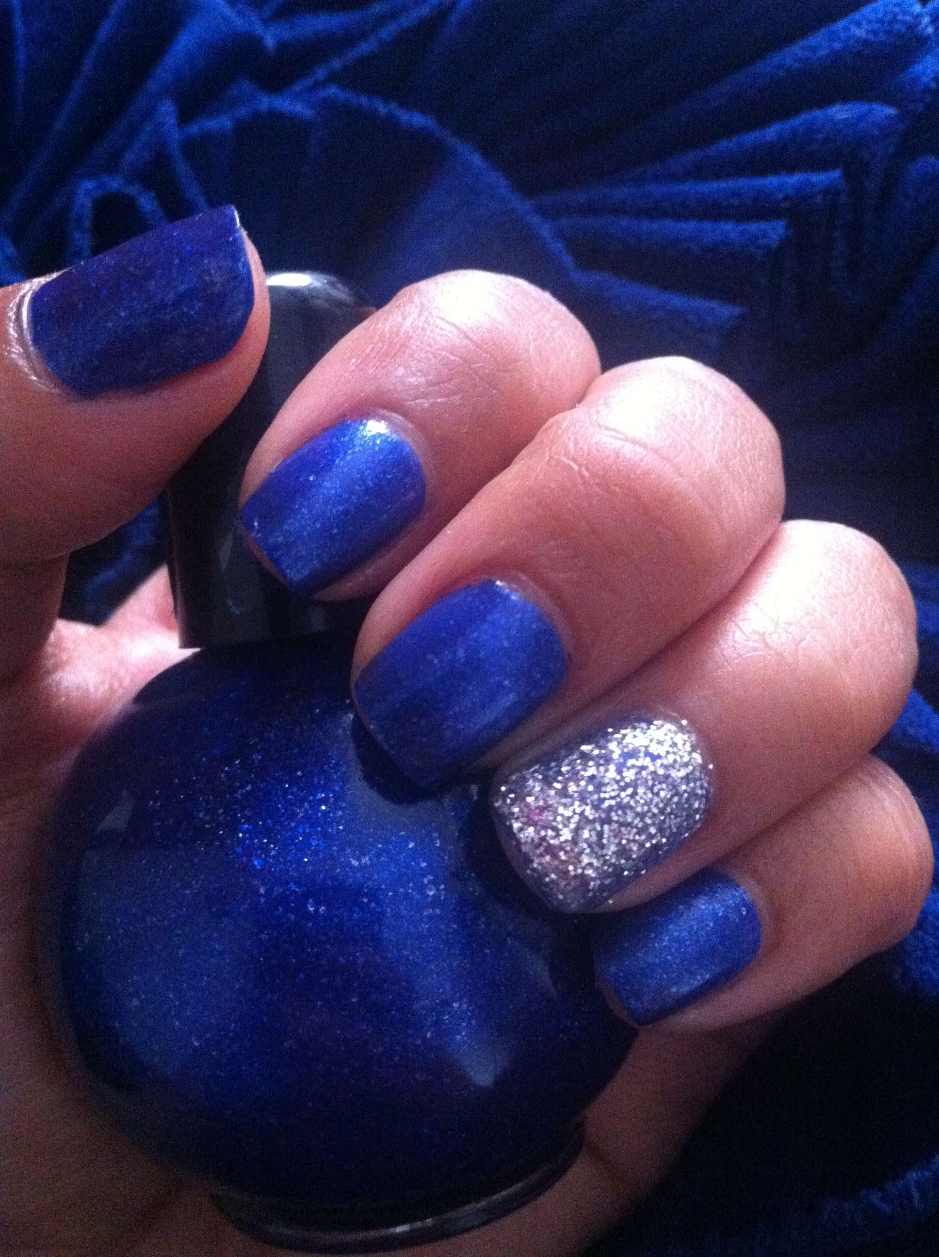 Royal Blue Silver Nails Nail Art Pinterest Silver Nail Nails