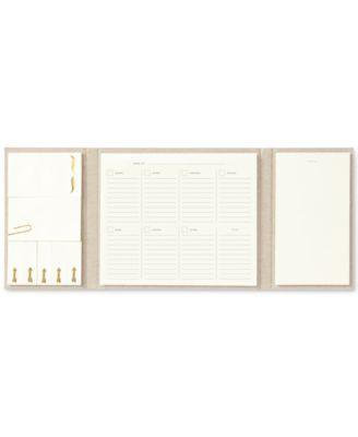 Kate Spade New York Tri Fold Weekly Desk Calendar   Gold