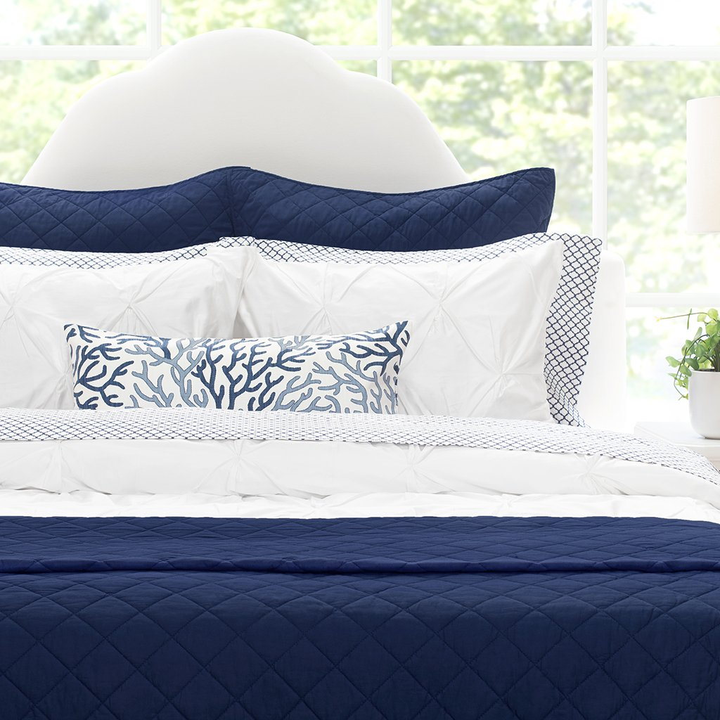 Navy Blue Diamond Quilt Twin Twin Xl In 2020 Navy Bedding Blue Quilts Blue Bedding