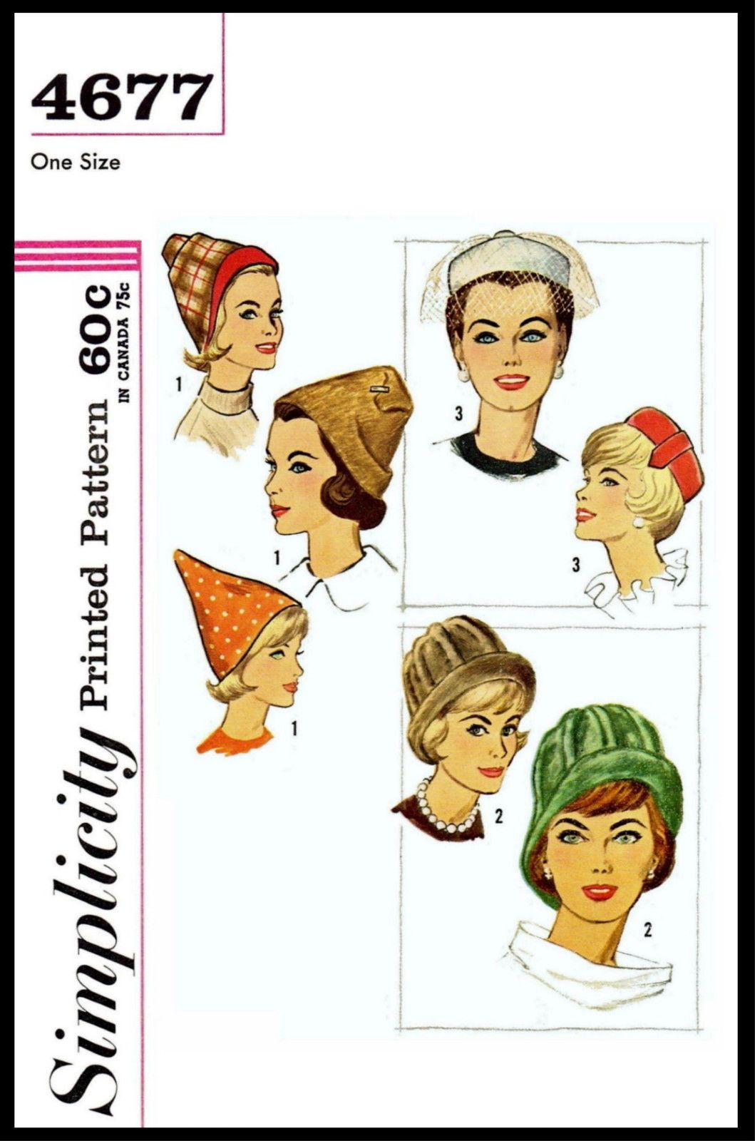 Millinery # 4677 SIMPLICITY HAT Fabric Sew Pattern Alopecia PIXIE ...