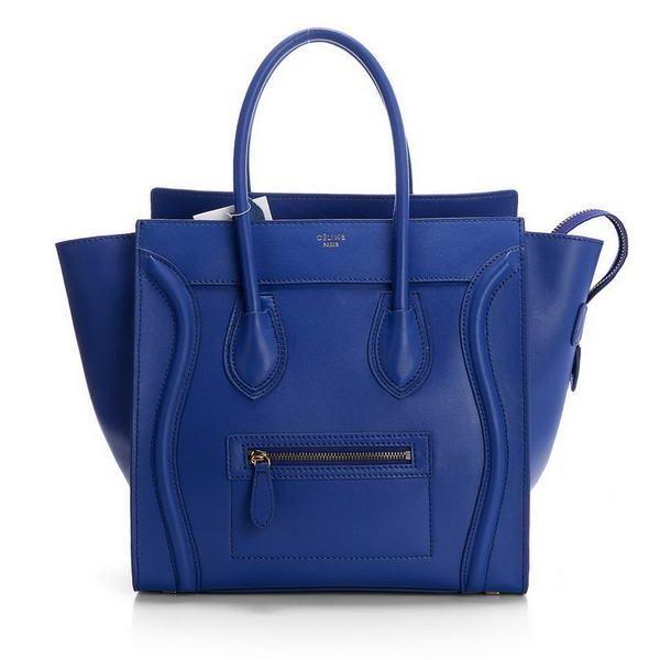Celine Luggage Mini Boston Bags Original Leather Blue