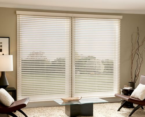 Faux Wood Blinds; Sliding Glass Door