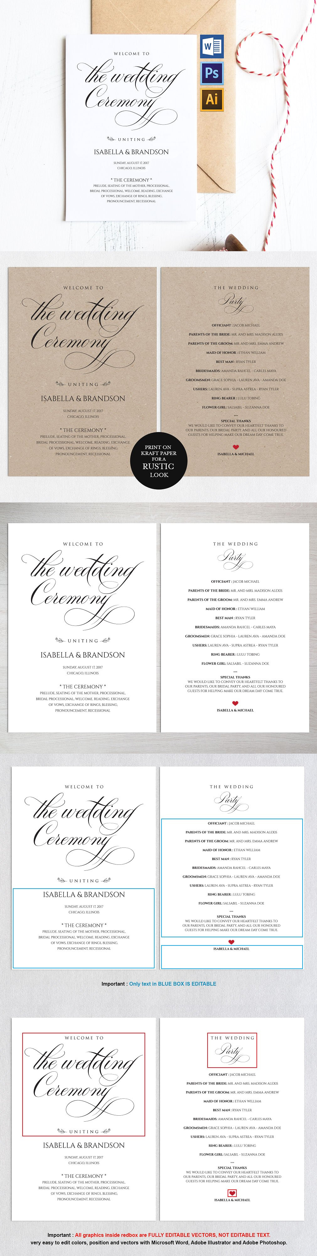 Wedding Program Wpc 123 | Wedding programmes, Template and Adobe ...