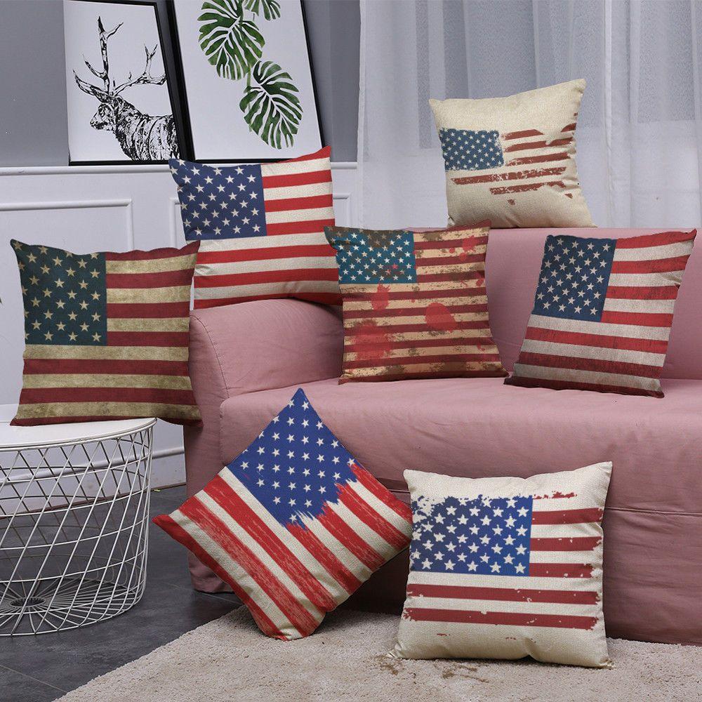 Vintage American Flag Pillow Cases Cotton Linen Sofa Cushion Cover Home Decor Sofa Cushion Covers Pillows Home Textile