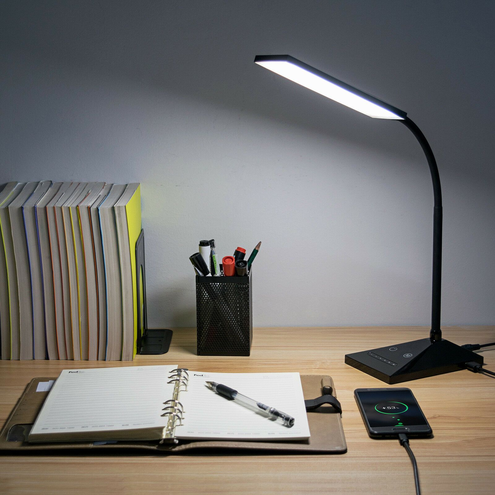 12w 7 Led Touch Sensor Flexible Dimmable Desk Table Lamp Read Light 390lm Power Ebay In 2020 Table Lamp Black Desk Lamps White Desk Lamps