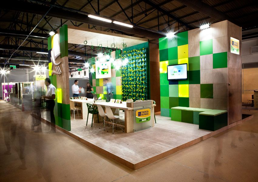 Exhibition Stand Building : Piraeus bank exhibition stand building green yv exhibition