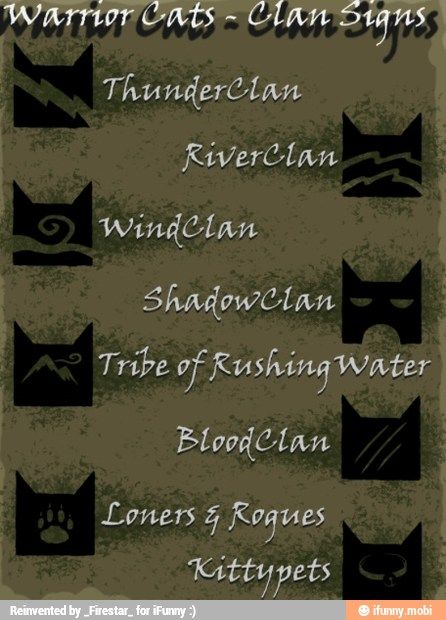 Clan symbols  (They don't have skyclan there) | Warrior Cats