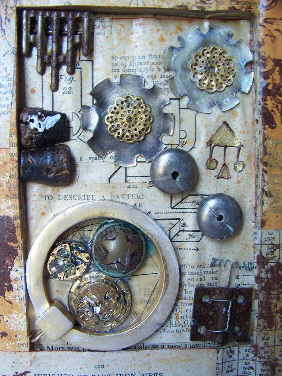 Steampunk Diary Original Mixed Media Assemblage
