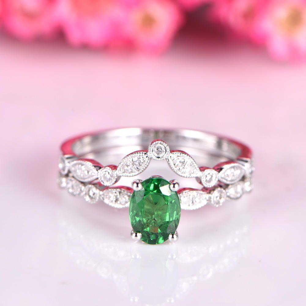 Tsavorite Ring set tsavorite engagement ring half eternity v shape ...