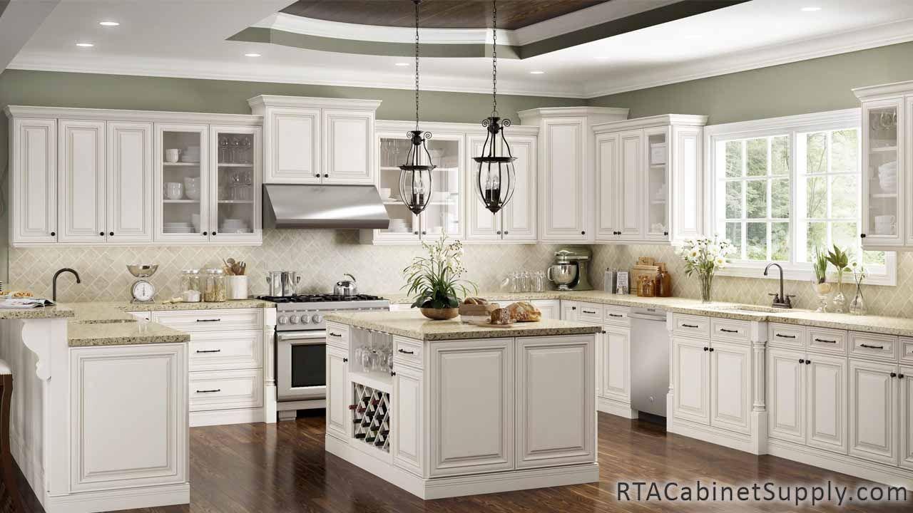 Charleston Cream Ready To Assemble Cabinets Antique White Cabinets Antique White Kitchen Cabinets Antique White Kitchen