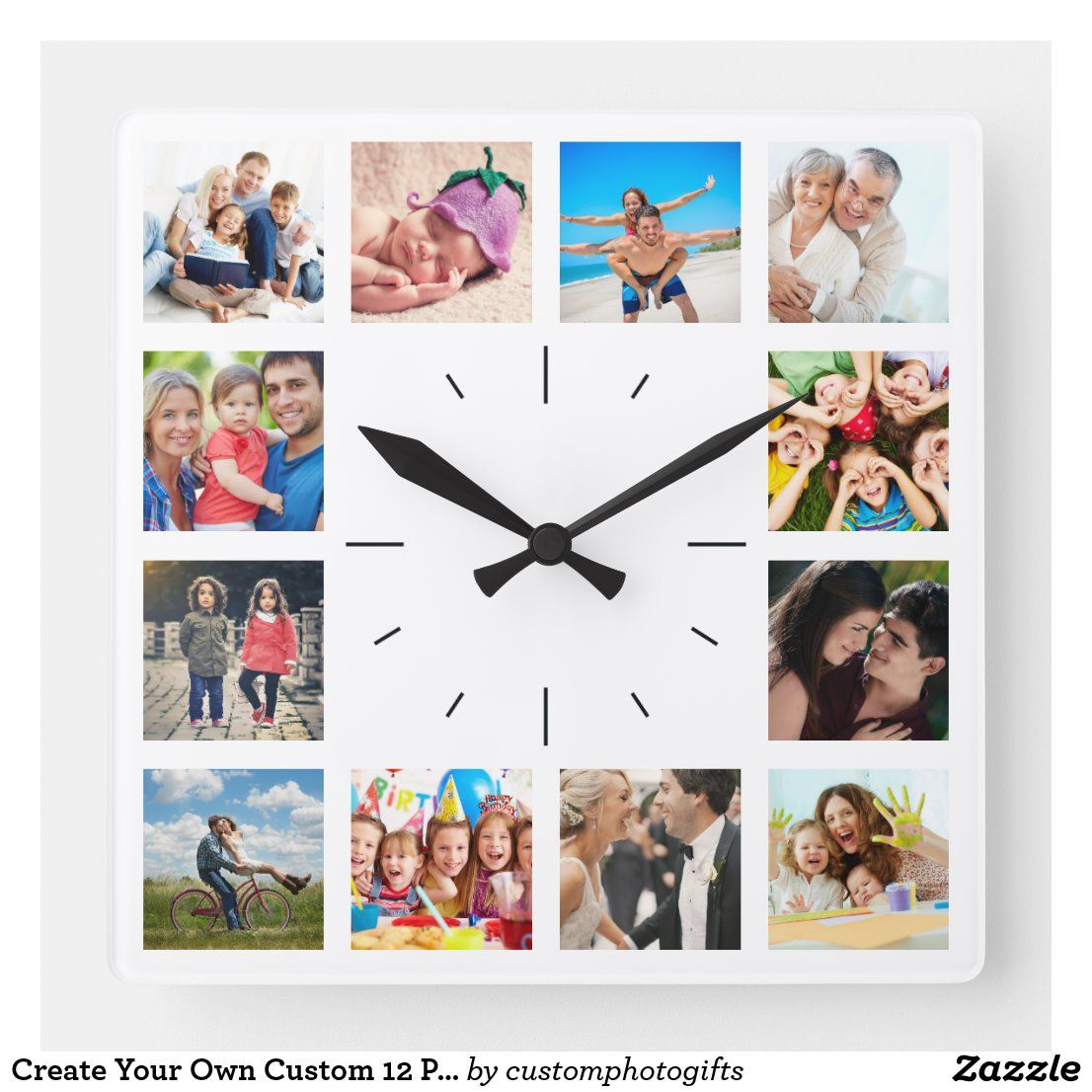 Create Your Own Custom 12 Photo Collage Instagram Square Wall Clock In 2020 12 Photo Collage Photo Collage Instagram Square