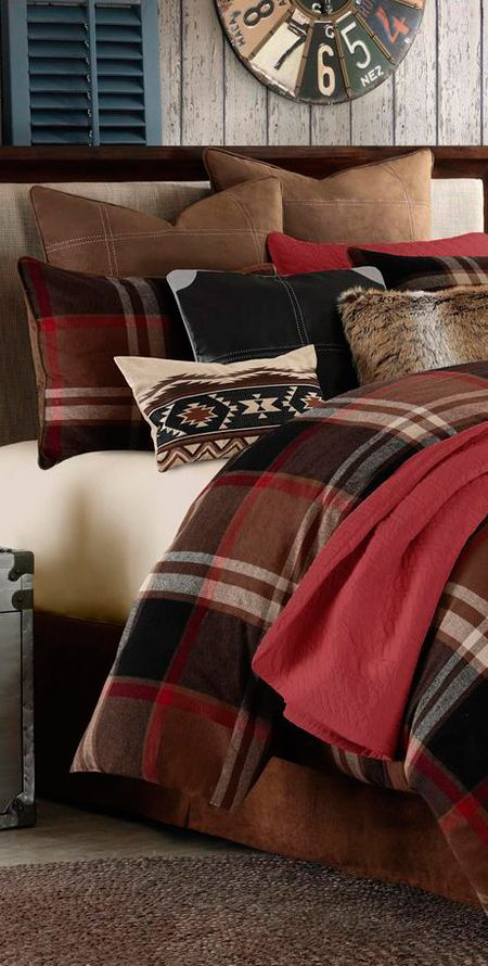 Grand Canyon Bedding Collection Lodge Bedroom Plaid Red Decor Comforter