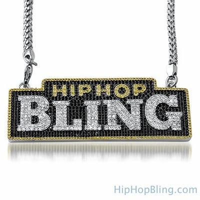 HipHopBling Logo Micro Pave CZ Pendant & Chain
