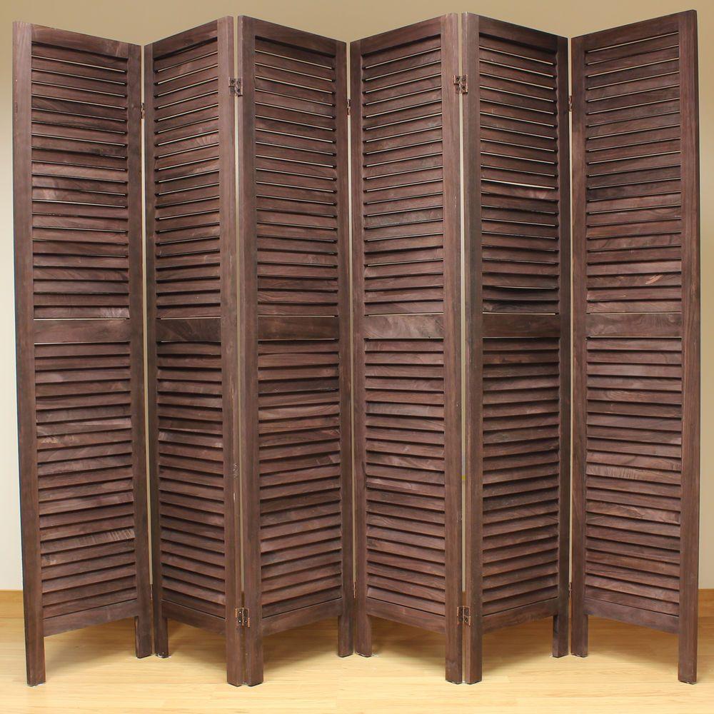 Brown folding room divider wooden slat design lightweight folding