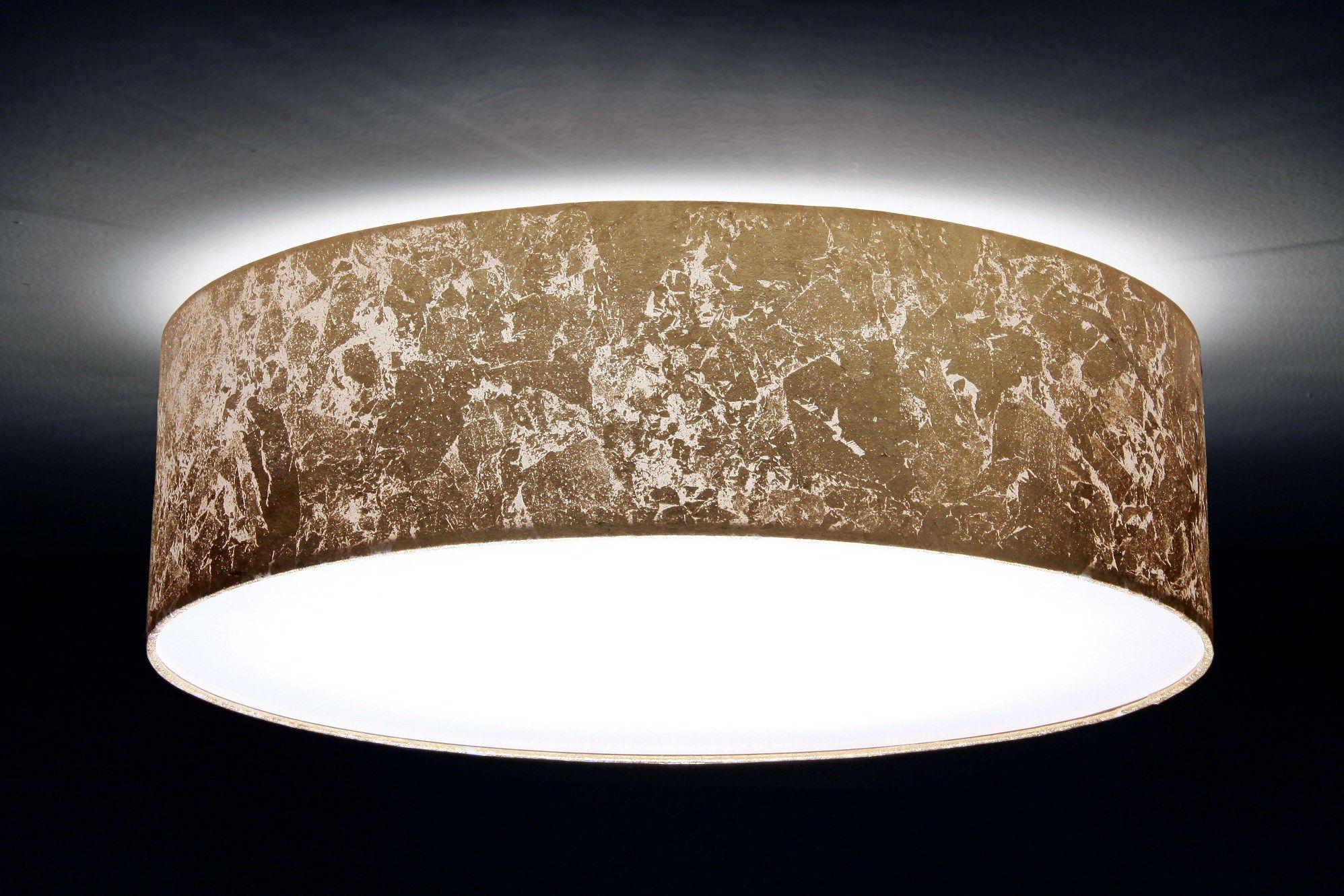 Deckenleuchte Blattgold-Optik, Durchmesser 40, 50, 60, 70 cm 3xE27