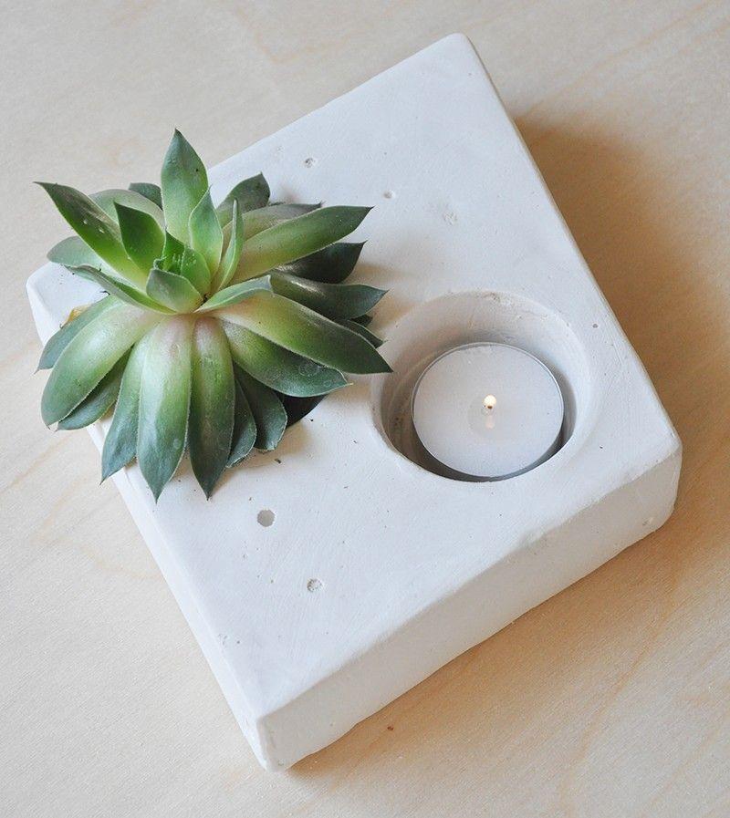 plaster of paris succulent holder with tea light perfect. Black Bedroom Furniture Sets. Home Design Ideas