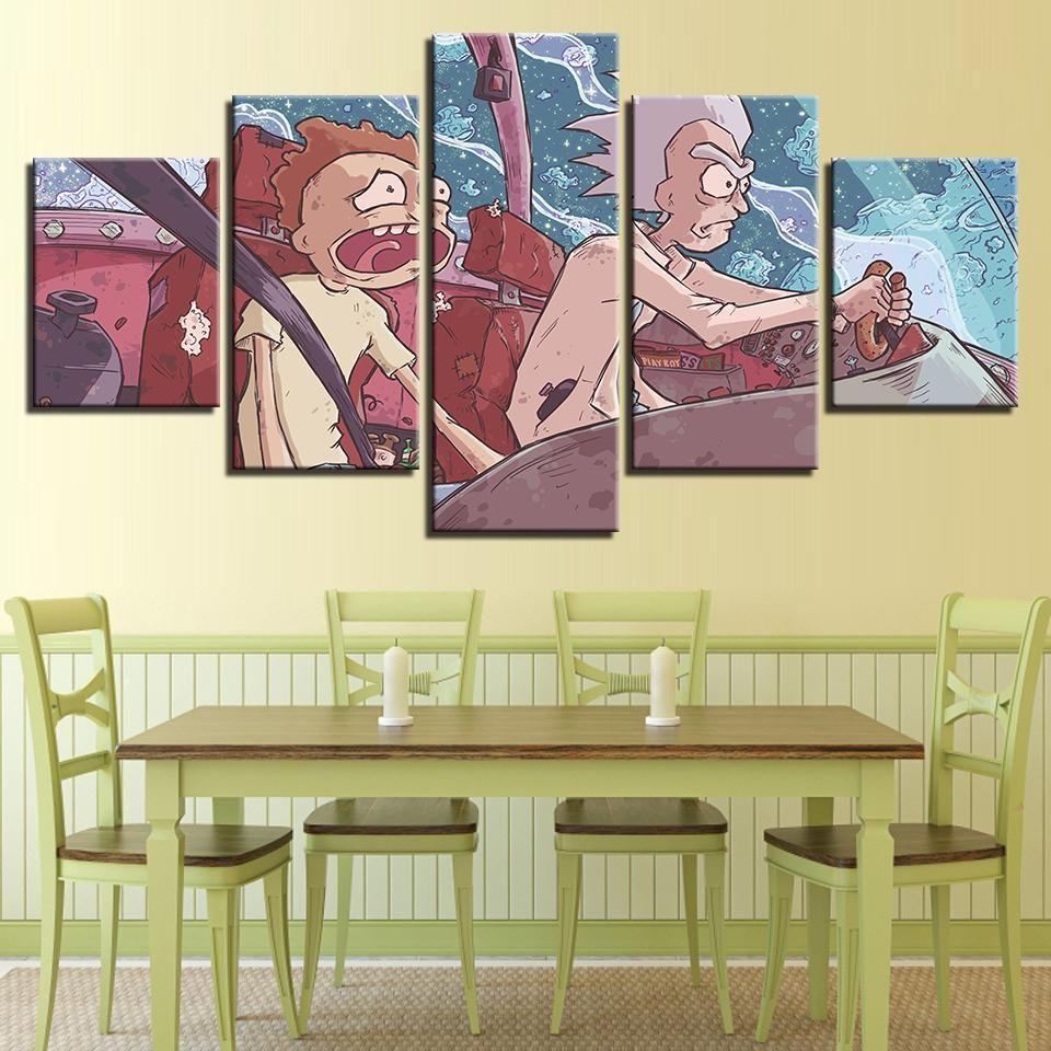 Rick and Morty 5 Panel Canvas Cartoon Wall Art | Wall canvas ...