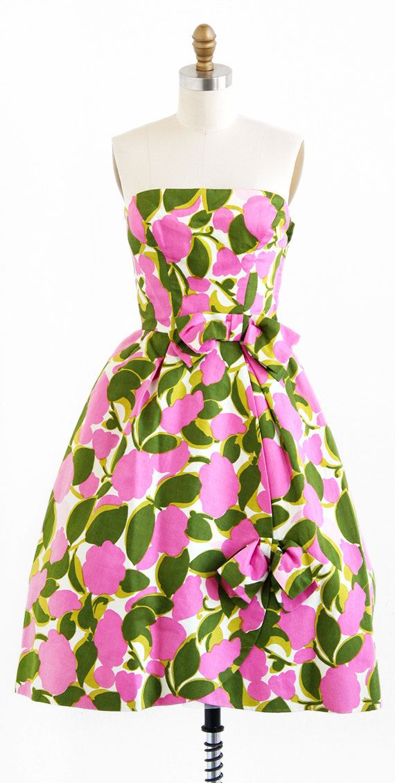 vintage late 1950s or early 1960s pink + green floral party dress ...