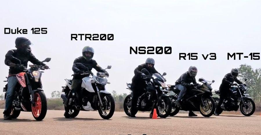 Yamaha R15 Vs Mt 15 Vs Bajaj Ns200 Vs Ktm Duke 125 Vs Tvs Apache