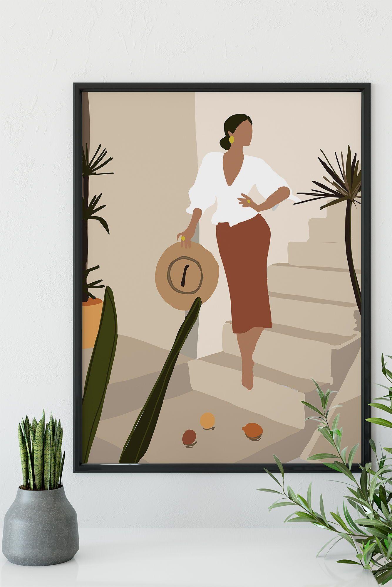 Abstract Female Portrait Wall Art Print Mid Century Modern Etsy In 2021 Wall Art Prints Wall Art Canvas Art Wall Decor