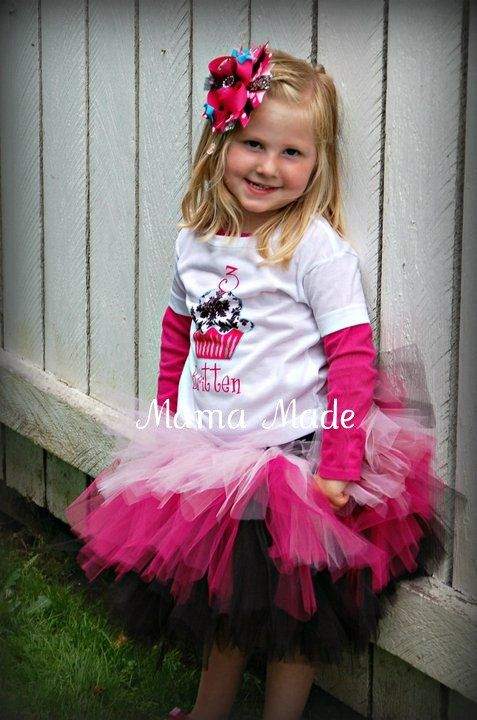 Black Fuchsia and Pink Triple Layered Tutu size by mamamadebows, $26.00+