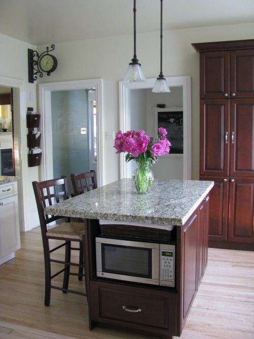 that is where i put our microwave when we redid our kitchen love it out of sight on kitchen island ideas kids id=20541