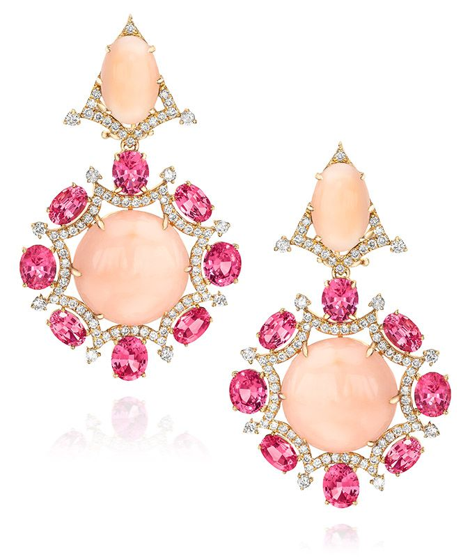 Cabochon Coral, Oval Cut Pink Spinel, Brilliant Cut Diamond and 18K Rose Gold Earrings