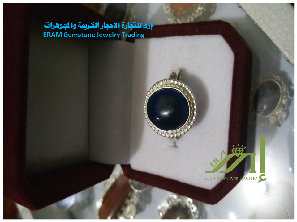 خاتم يمني نسائي زجاج بركاني ازرق كلاسيك طبيعي 100 Agate Gemstone Jewelry Gemstones Jewelry
