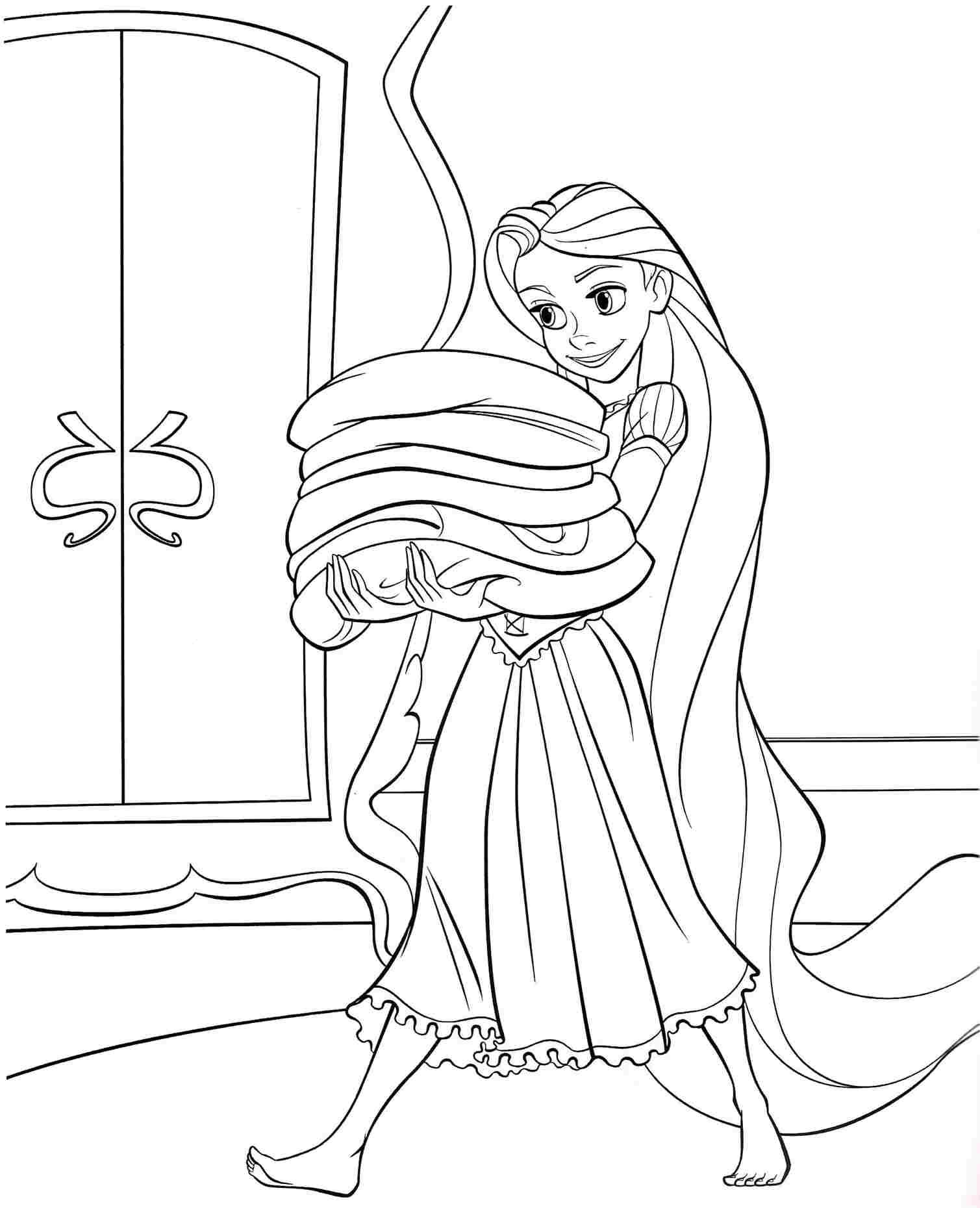 Coloring Pages Disney Princess Tangled Rapunzel Free For Kids Boys