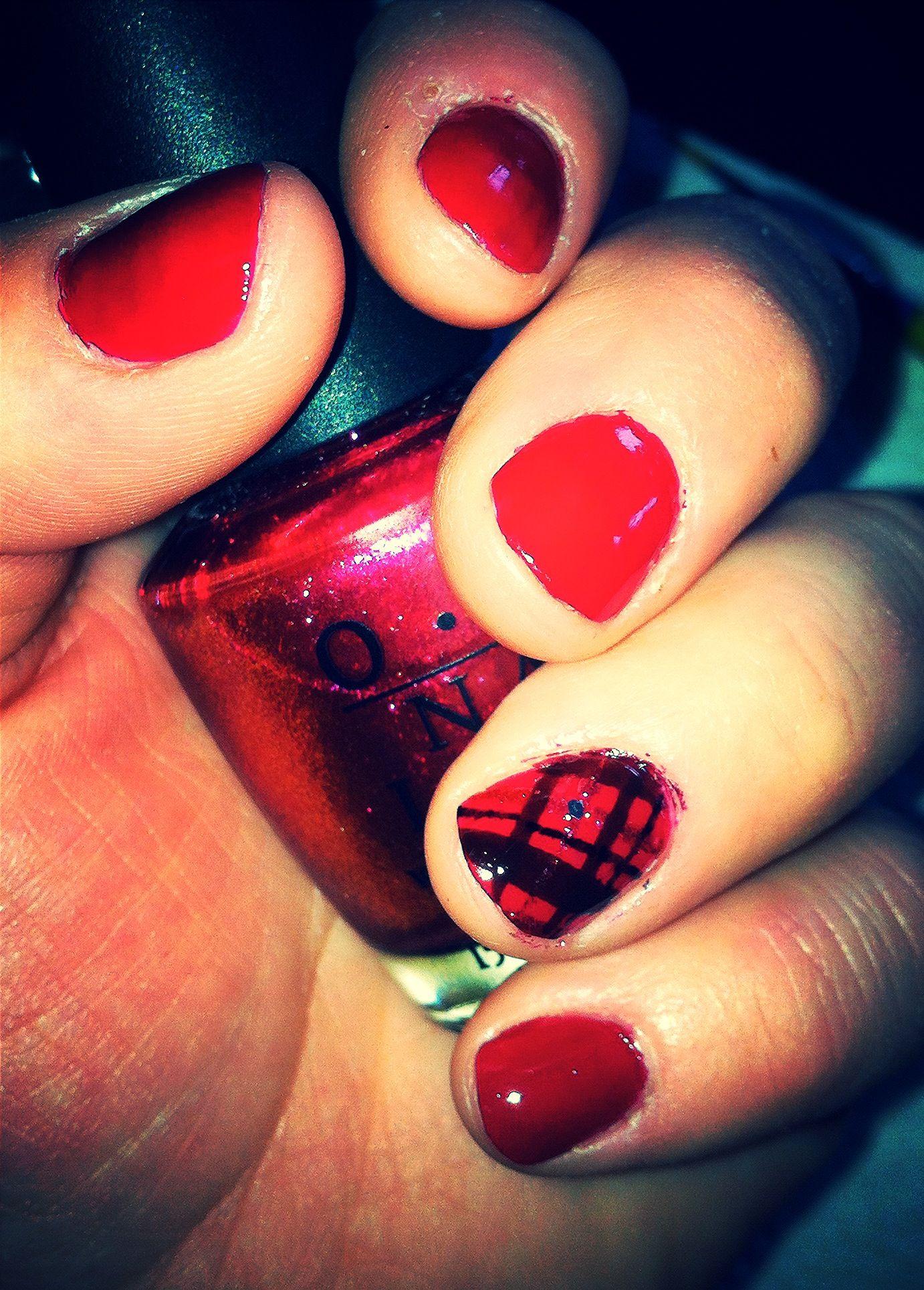 Red plaid nails nails pinterest plaid nails