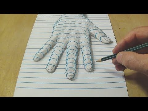3d Line Drawings : New perspective drawing a hand on line paper trick art with