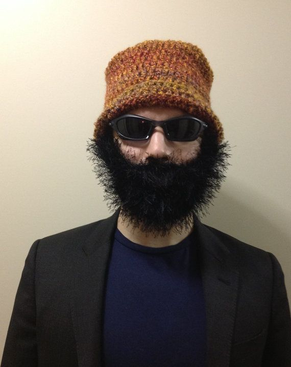 Handmade Crochet Beard Hat Beard Beanie Rust Color By