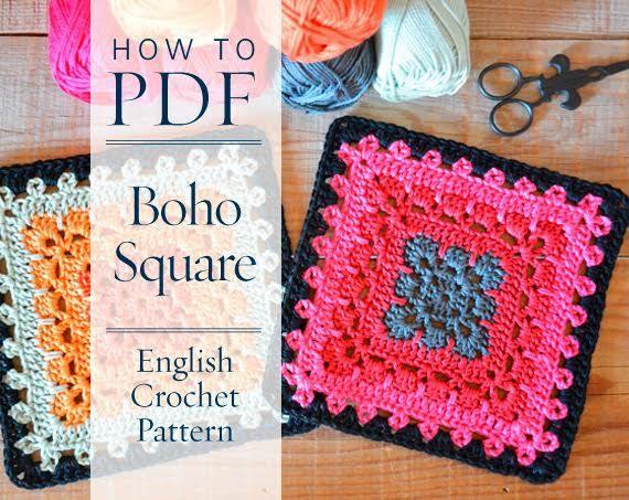 Granny square pattern Boho Square - DIY PDF English Crochet Pattern ...