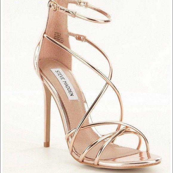 ab78e832198 Steve Madden Satire Strappy Rose Gold High Heel Stiletto Sandal Size 6.5 M   140