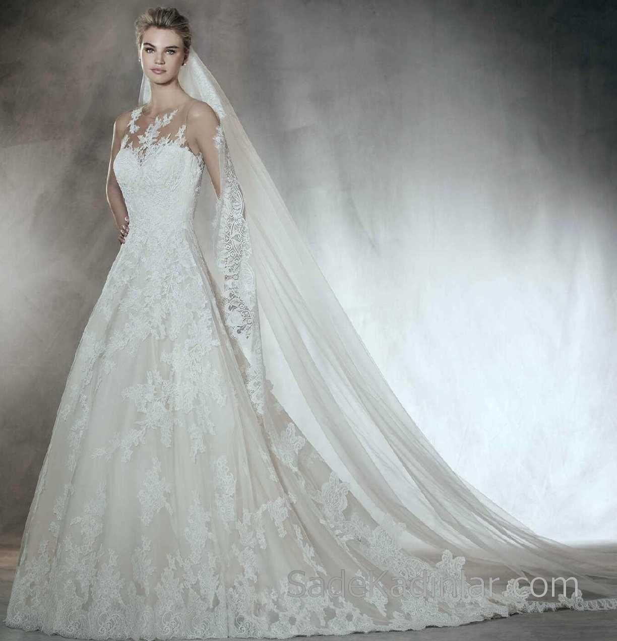 2018 Gelinlik Modelleri Pronovias Prenses Gelinlik Modelleri Sifir Kol Gupur Dantelli The Dress Gelinlik Prenses Gelinlikleri
