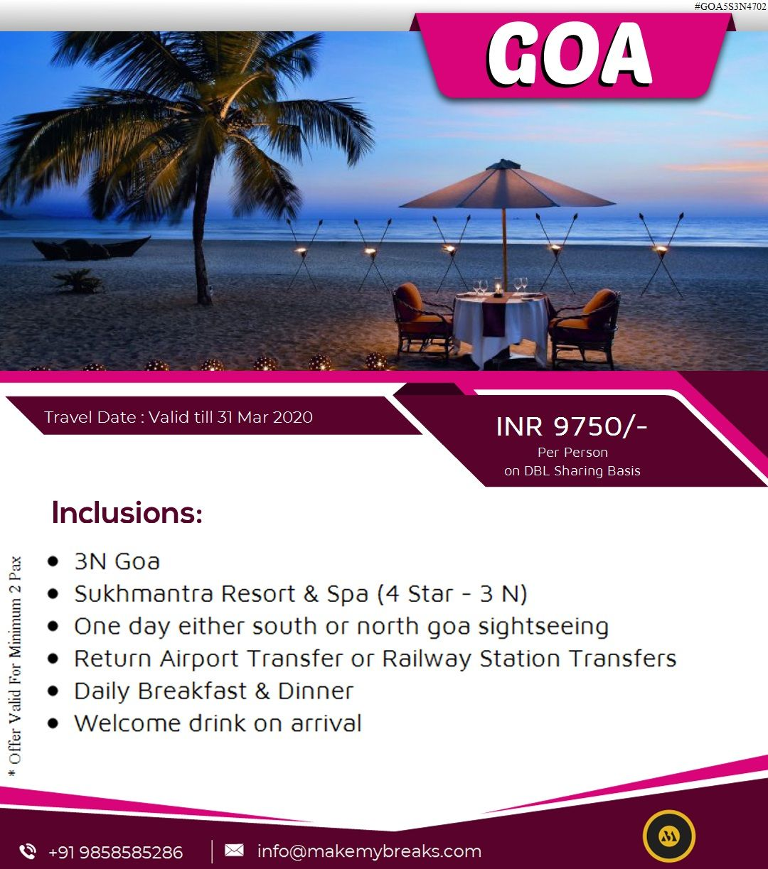 Customize Goa tour package & get exclusive deals on Goa travel packages by booking with us... #MakeMyBreaks #Goa #Travel #TravelPackages #Tour #TraveltoGoa