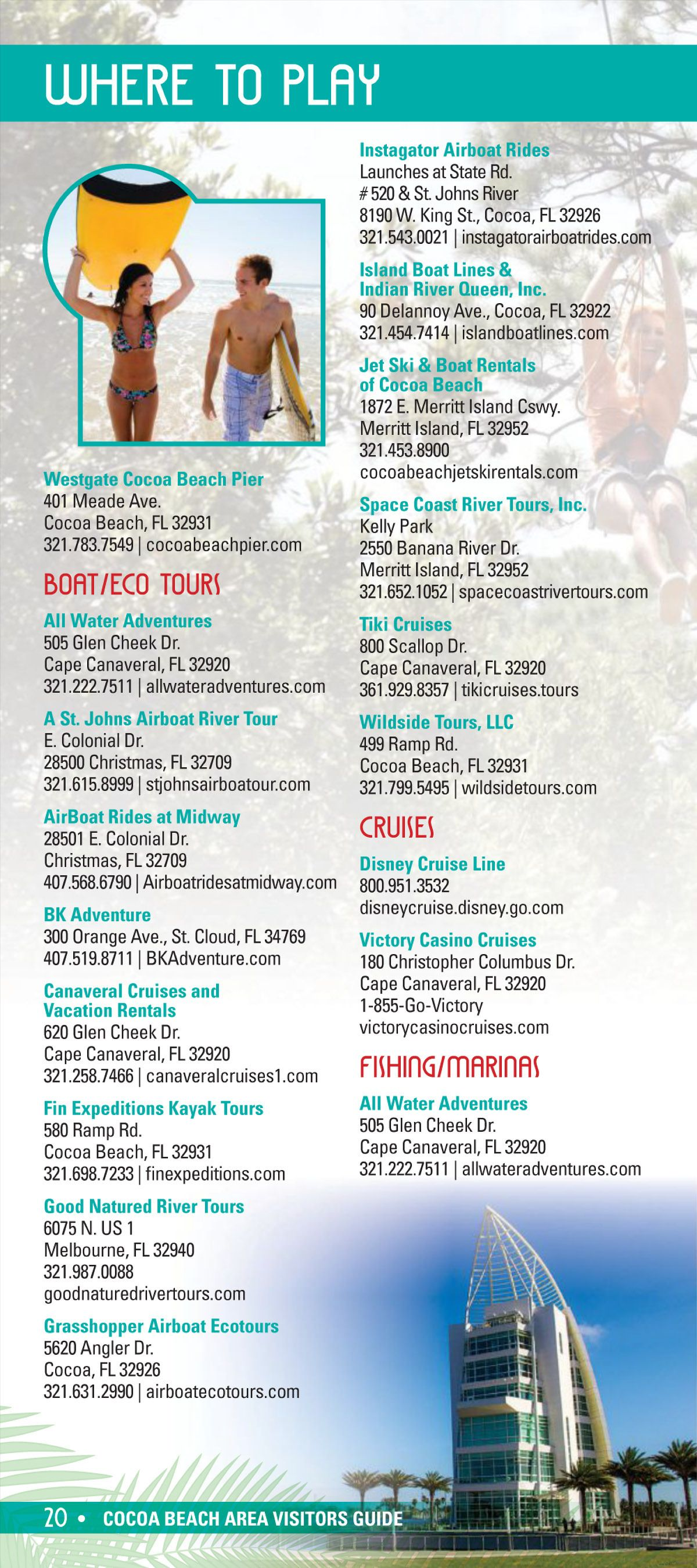 Cocoa Beach Chamber Of Commerce 2019 Cocoa Beach Visitors Guide Airboat Rides Boat Rental Cocoa Beach