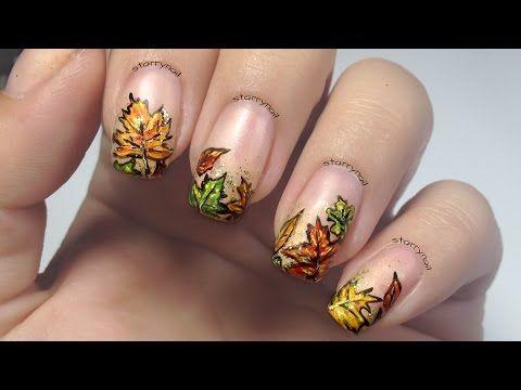 Fall Leaf Nails Diy Easy Autumn Leaves Nail Art Design Tutorial