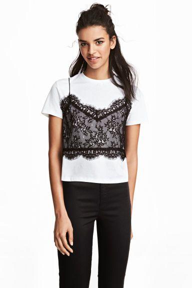 ef03e29d8b7f T-shirt avec top en dentelle - Blanc noir - FEMME