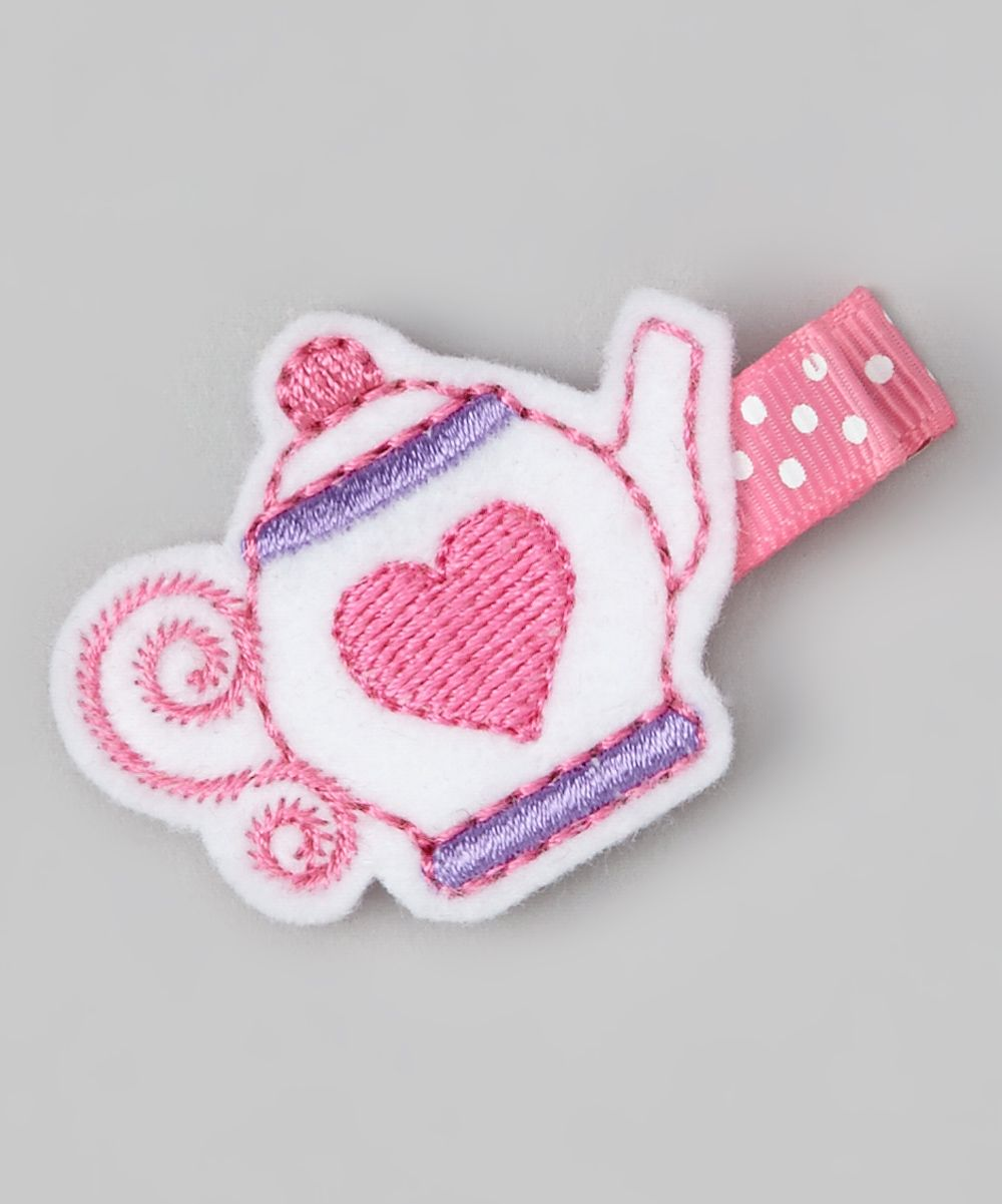 craft ideas with ribbon white amp pink teapot felt clip for the children 3986