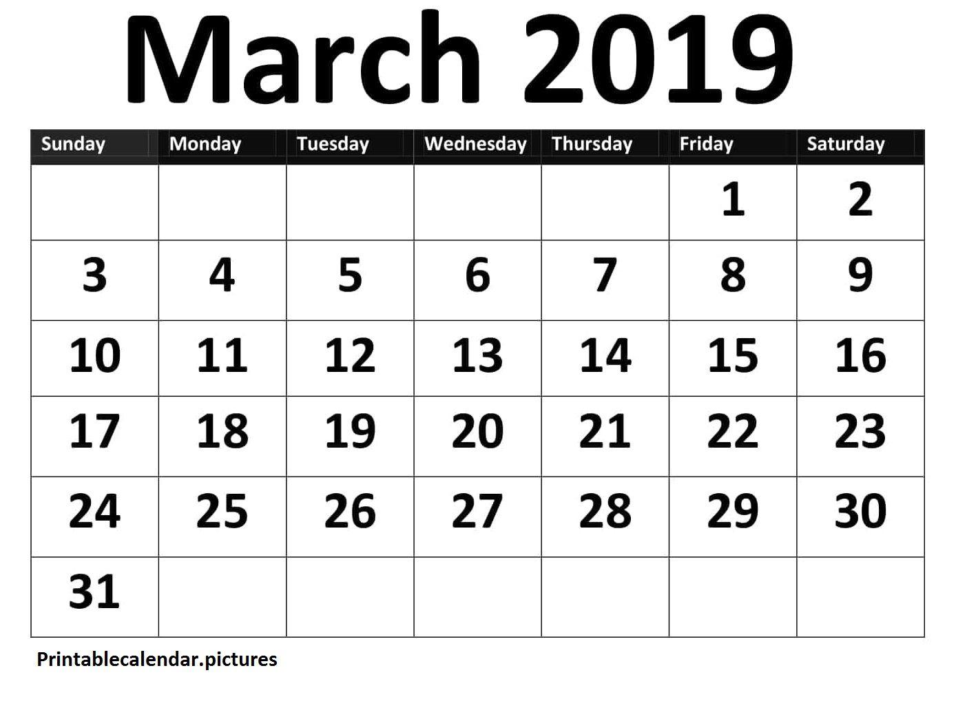 March Calendar Printable Worksheet