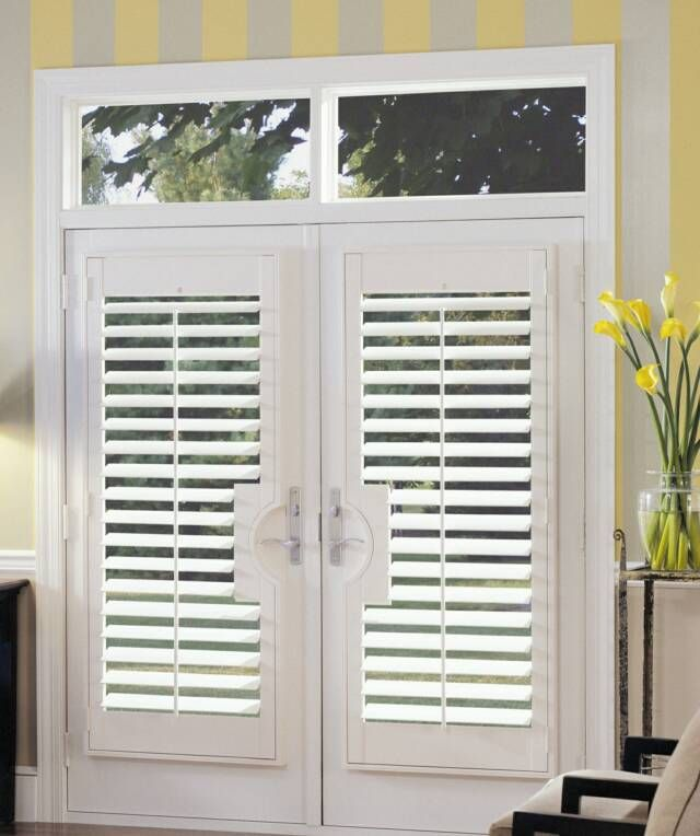 French doors with plantation shutters door designs plans for Plantation shutter plans