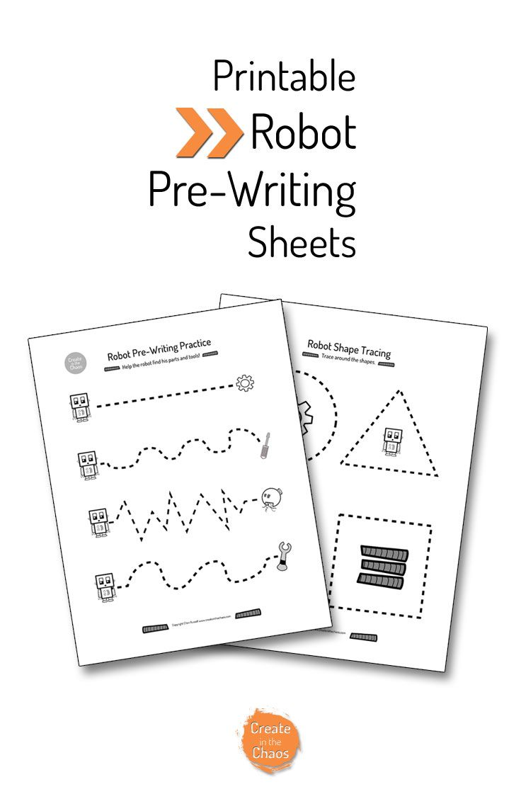 Robot Pre Writing Printable Create In The Chaos Pre Writing Robots Preschool Pre Writing Practice [ 1128 x 736 Pixel ]
