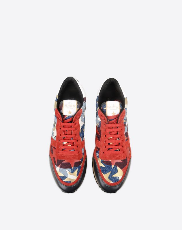 cbba9b76d07 VALENTINO Logo Split leather Multicolor Pattern Denim Laces Rubber sole  Round toeline Men. Find this Pin and more on My Closet Archive ...