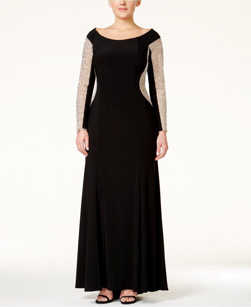 Xscape plus size illusion beaded offtheshoulder gown xscape dre