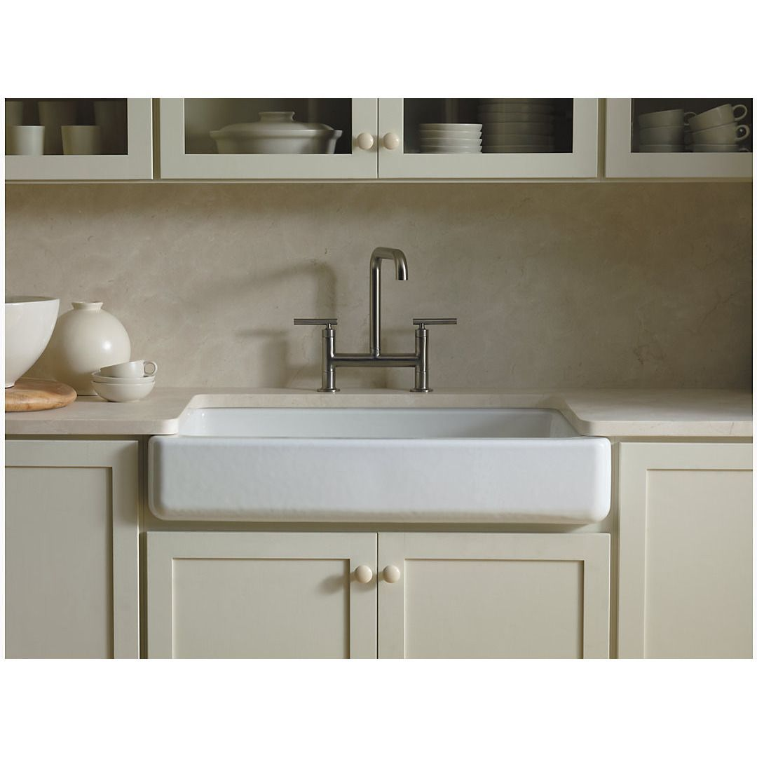 Kohler K 6488 Whitehaven 36 Cast Iron Farmhouse Sink Single Bowl Self Trimming Under Mount With Short Apron In 2019 Single Bowl Kitchen Sink Apron Front Kitchen Sink Farmhouse Apron Sink