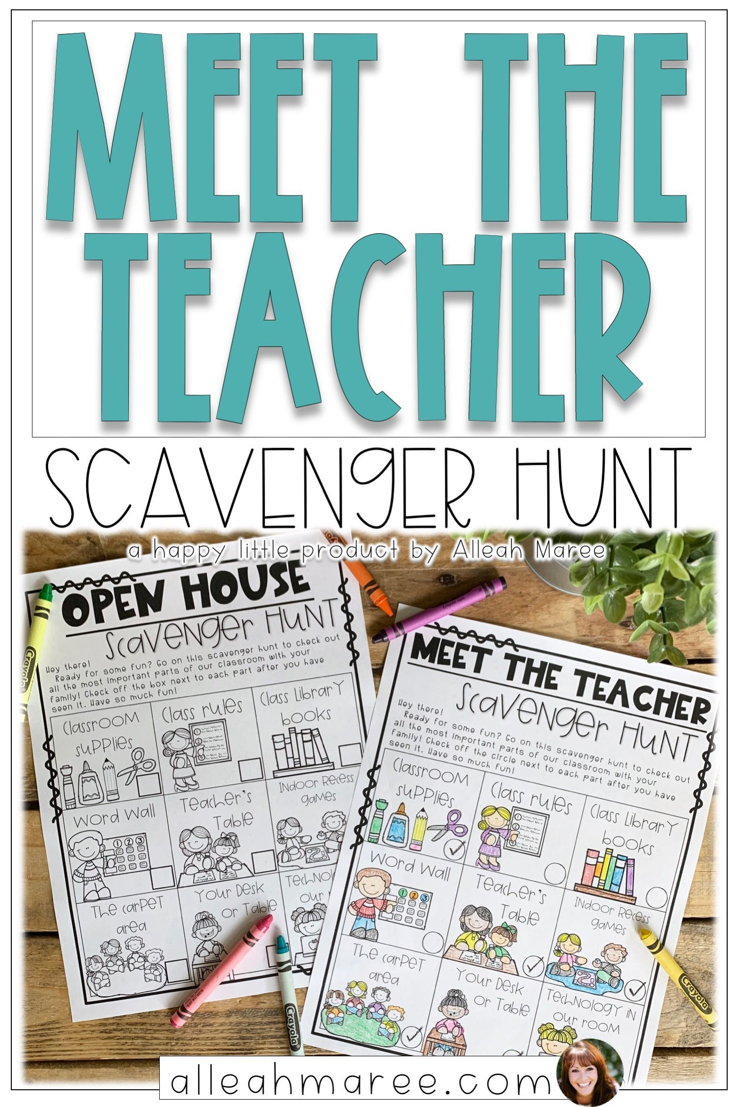 Meet the Teacher Night & Open House Scavenger Hunt Editable is part of Elementary classroom - or clipart to create your own   There are two border designs included with the editable scavenger hunts, as well as a blank ta