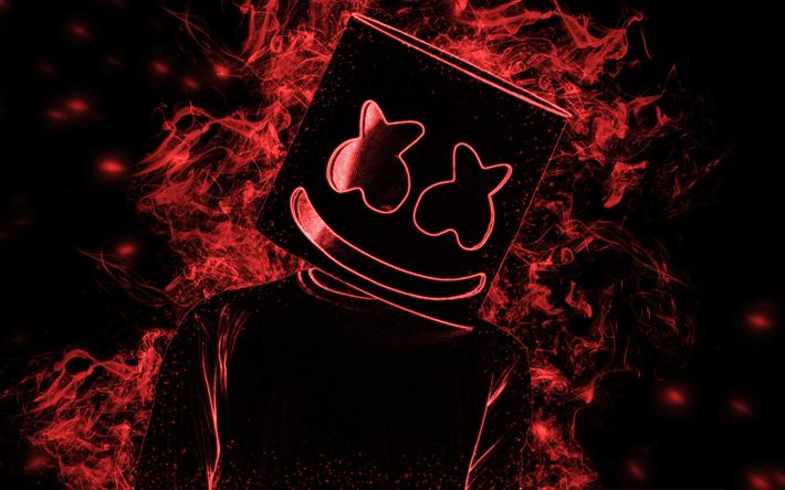 Download Wallpapers Marshmello American Dj Red Smoke Stylish Art 4k Portrait Hat Red Art Besthqwallpapers Com Red Art Red Smoke Joker Hd Wallpaper