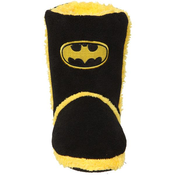 DC Comics Batman Slipper Boots | Hot Topic ($25) ❤ liked on Polyvore featuring shoes, slippers, batman, 23. house boots & slippers. and boots