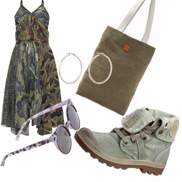 Vestito camouflage con spalline, stivaletti con laccetti, shopper bags in verde militare, occhiali in stile camouflage in un teneue tono di lilla e orecchini a cerchio in silver, Outfit semplice e adatto a svariate occasioni